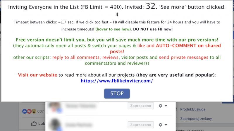 Lista automatycznie zaproszonych osób na fanbpage