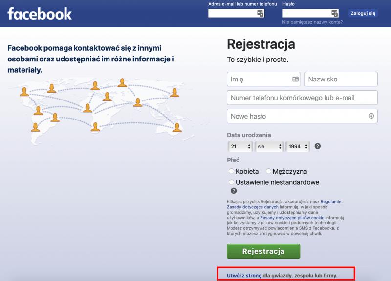 Czy można założyć fanpage bez konta na Facebooku?