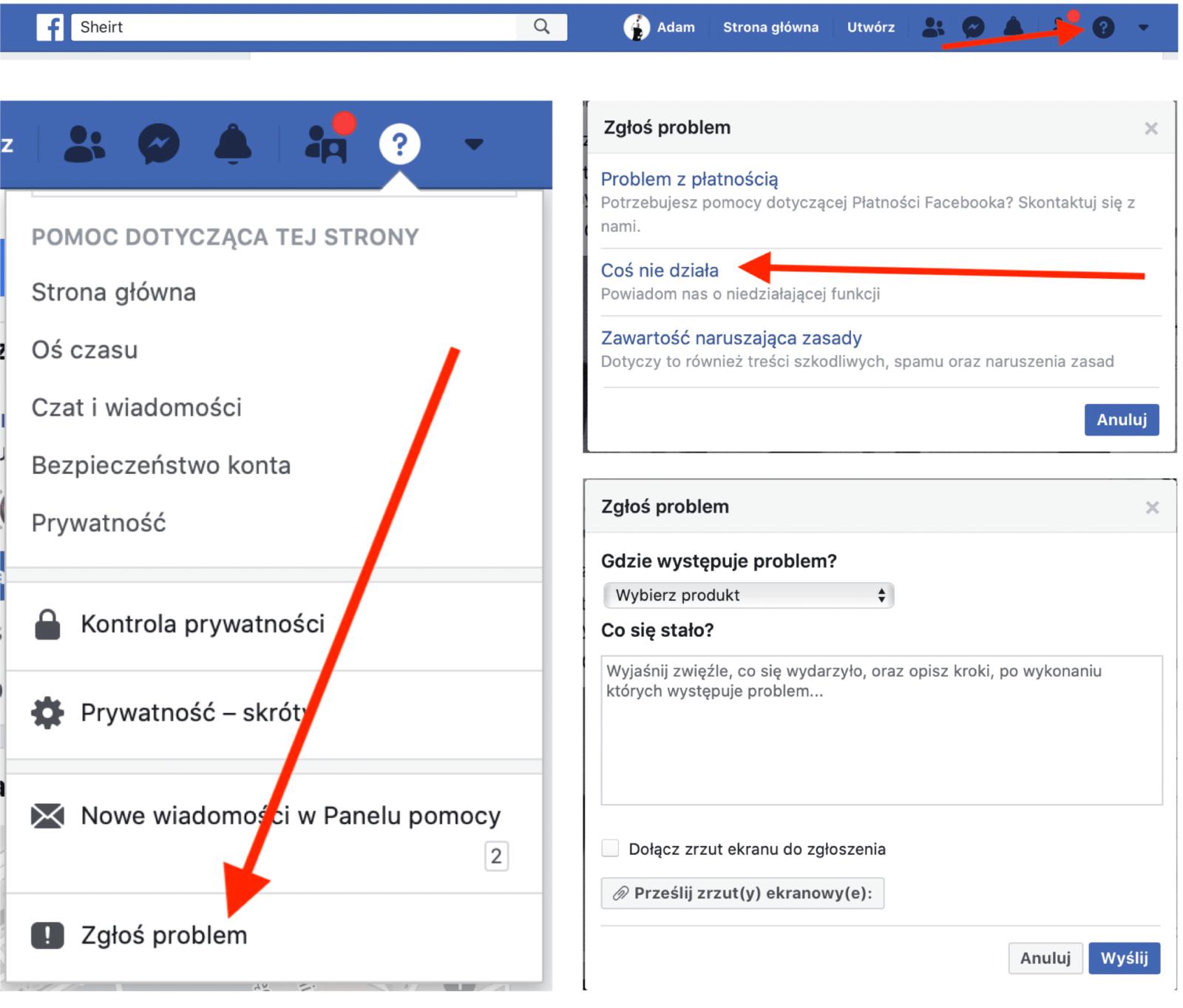 Instrukcja krok po kroku w jaki sposób skontaktować się z Facebookiem poprzez funkcję Zgłoś Problem