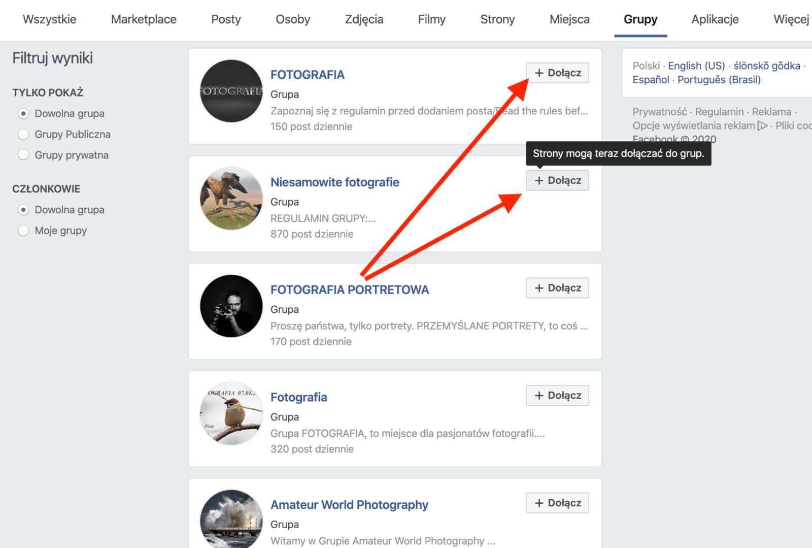 Reklama do grupy na Facebooku - dołączanie do grup 2