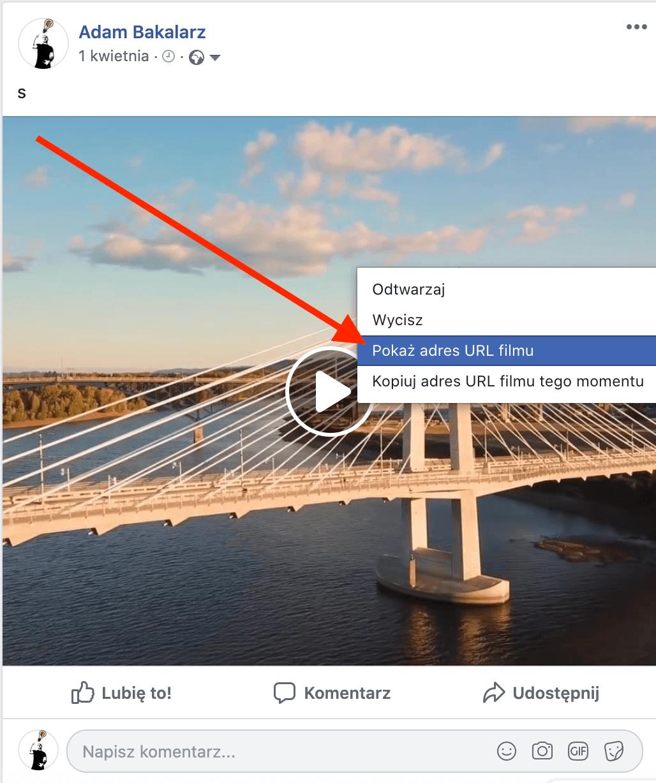 pobieranie filmu z fb przy użyciu przeglądarki