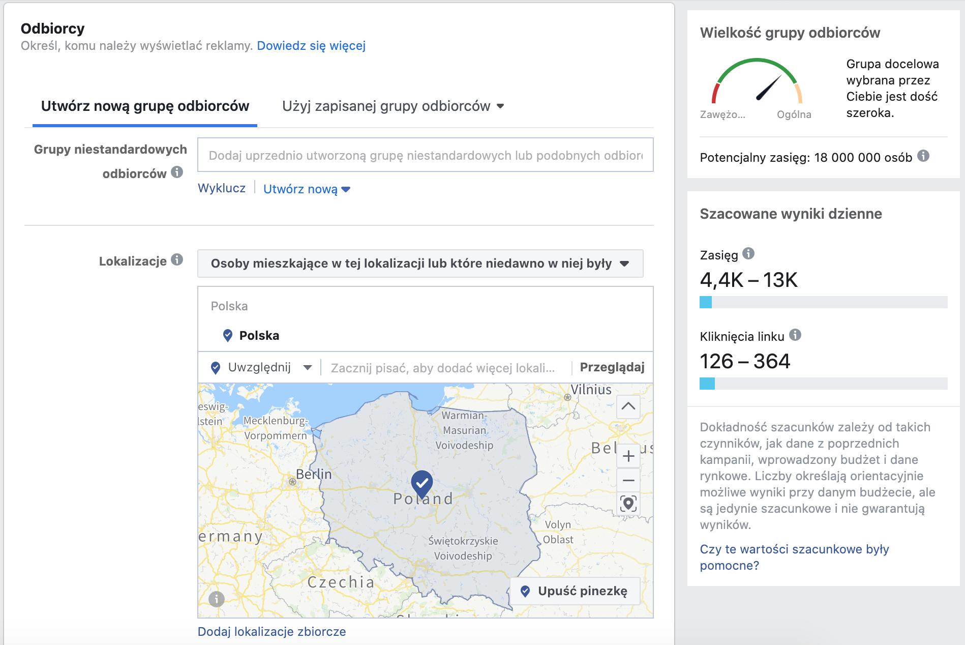 Określanie odbiorców w reklamie na Facebooku