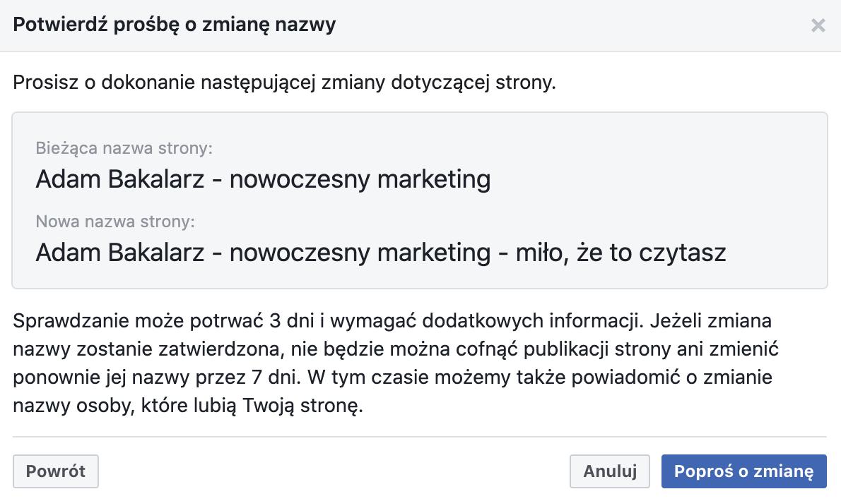 Zmiana nazwy strony na fb - akceptacja